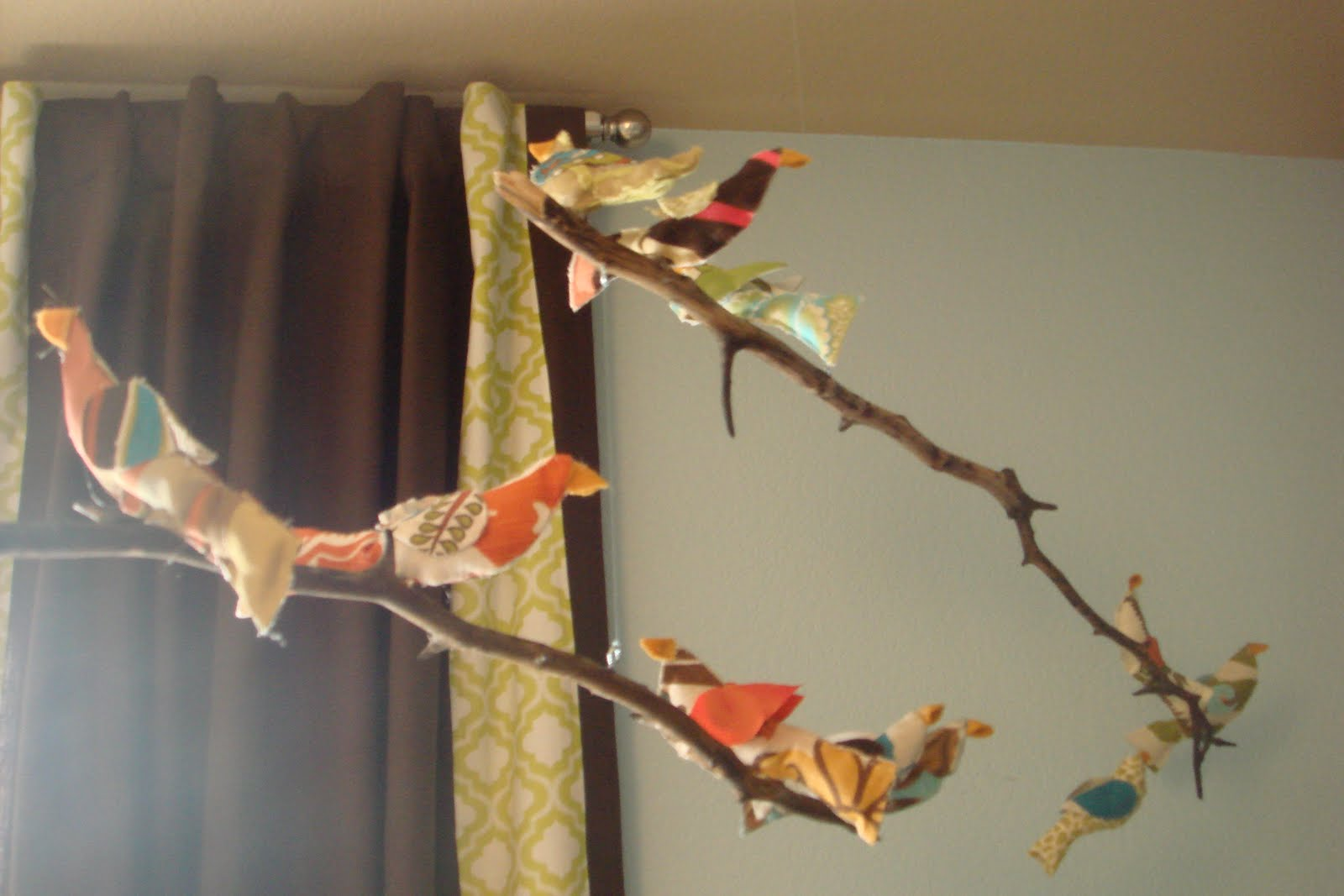 fabric bird mobile, baby mobile,