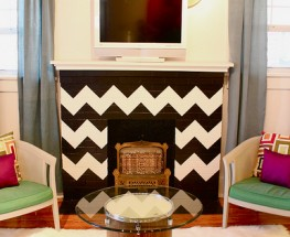 DIY Chevron Fireplace Before and After