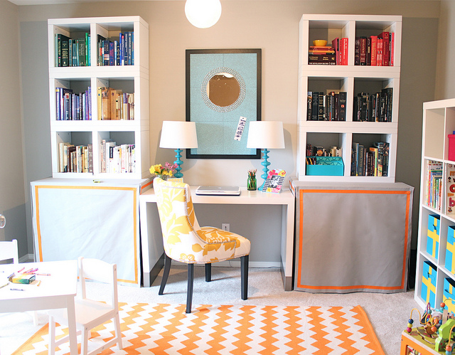 bright and colorful office playroom combo kara paslay design