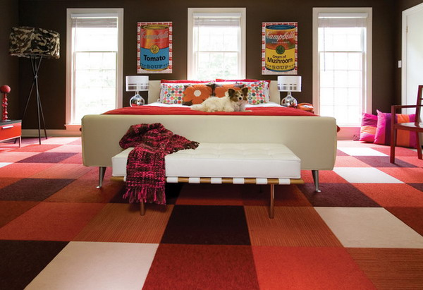 Modern-Bedroom-Design-with-Colored-Checkered-Carpet