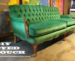 DIY Dyed Couch- Apple To Emerald